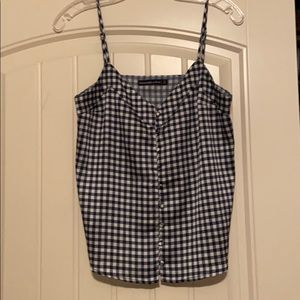 Abercrombie and Fitch Gingham Satin Tank